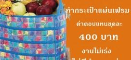 งาน part time งานฝีมือ ปักแผ่นเฟรม รายได้เสริม ทำกระเป๋าแผ่นเฟรม ชุดละ 400 บาท