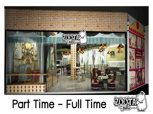 งาน Part Time-Full Time ร้านอาหารคนรักสัตว์ (Zoota Bistro)