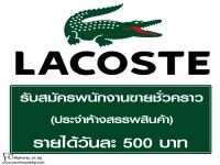 รับสมัครพนักงานขายชั่วคราว แบรนด์เสื้อผ้า LACOSTE
