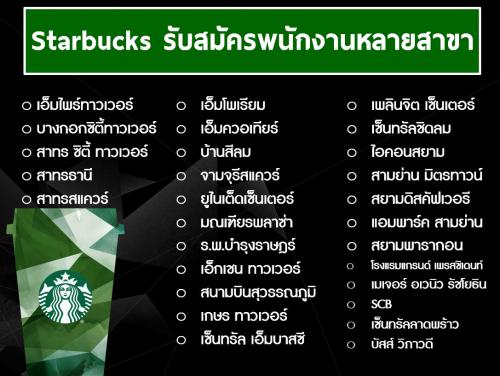 Starbucks รับสมัครพนักงานประจำร้าน หลายสาขา