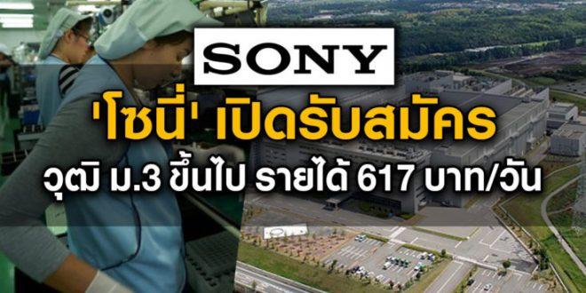 Sony เปิดรับสมัครพนักงาน (รายได้ 671 บาท/วัน)