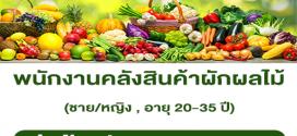 รับสมัครพนักงานคลังสินค้าผักผลไม้