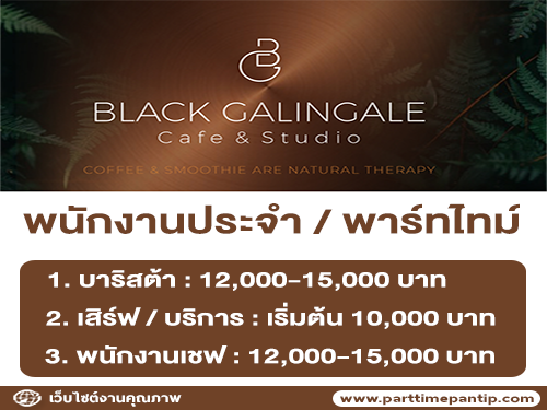 งาน Part Time – Full Time ร้าน Black Galingale Cafe & Studio
